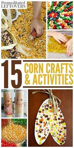 15 Corn Crafts and Activities for Kids- Looking for a DIY fall craft idea or educational project to do with kids? You can teach kids everything from art to agriculture with these cool corn activities. Each one is fun and frugal!