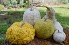 yarn wrapped gourds- you could even do this with fake fruits/vegetables or Styrofoam!