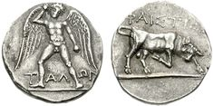 Crete, Phaistos, 300-270 BCE, AR Stater, Talos nude standing-facing wings spread hurling stone in right hand TAΛON / Bull butting  right ΦAIΣTIΩN
