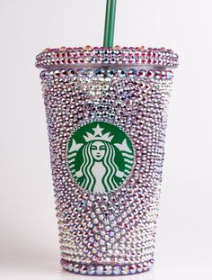 Swarovski Crystal Starbucks Tumbler called Cameron with Hearts and Flowers. #swarovski #crystal #starbucks