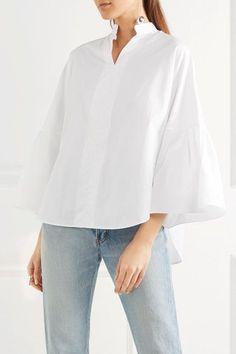 Valentino - Bell-sleeve Cotton-poplin Blouse - White