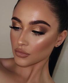 Glam Makeup Look, Makeup Eye Looks, Wedding Makeup Looks, Nude Makeup, Brunette Makeup, Makeup Eyeshadow, Gorgeous Makeup, Makeup Looks For Brown Eyes, Gold Eye Makeup