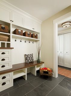 Mudroom Ideas - Farmhouse Mudroom Decor and Designs We Love - Involvery Mudroom Cubbies, Mudroom Laundry Room, Bench Mudroom, Mudrooms With Laundry, Closet Mudroom, Mudroom Cabinets, Entry Closet, Hall Closet, Upper Cabinets