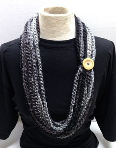 Shades of Black Grey Crocheted Chain Rope Scarf Necklace Cowl with Bamboo Button