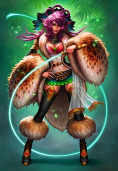 Commission - Zhiva Picture  (2d, fantasy, elf, female, creature, pink, girl, woman, warrior)