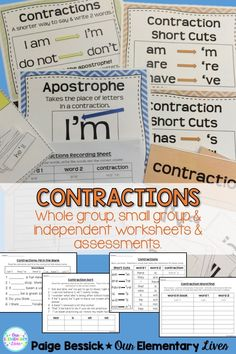 Contraction Companion Pack- Includes resources and activities for whole group, small group and independent and assessment.  Teaches students how to make and read contractions.  Perfect for first, second and third grades.