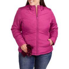 Faded Glory Women's Plus-Size Lightweight Bubble Jacket, Size: 4XL, Purple