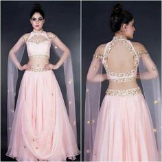 Love the lehenga choli's open back, though the choli's front would look better without the eye shaped 'cut-out' just below the neck. Most probably by Mahima Mahajan, Defense Colony, New Delhi. source unknown, via Lehenga Designs, Saree Blouse Designs, Indian Wedding Outfits, Indian Outfits, Wedding Dresses, Designer Kurtis, Designer Dresses, Lehnga Dress, Lehenga Blouse