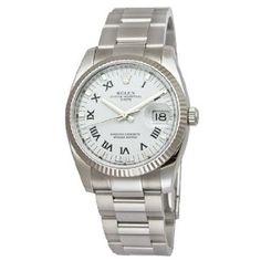 Rolex Date White Roman Dial Fluted Bezel Mens Watch 115234WRO (Watch)  http://www.amazon.com/dp/B0011YIB8M/?tag=iphonreplacem-20  B0011YIB8M