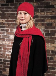 Cashmere Cable Knit Scarf, Cap and Gloves in Cardinal