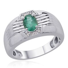 Liquidation Channel | Kagem Zambian Emerald and Diamond Men's Ring in Platinum Overlay Sterling Silver (Nickel Free)