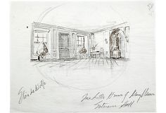 """Sketch entitled """"Elsie de Wolfe, The Little House of Many Mirrors, Entrance Hall."""" Dated 3/22/88. Pencil on tracing paper."""