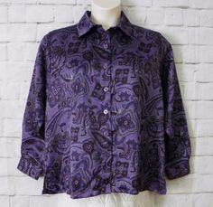Womens SALON STUDIO Purple Gray Paisley Floral Satiny Button Front Top SZ Large #SalonStudio #ButtonDownShirt #CareerCasual