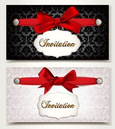 Beautiful bow with vip invitation card vector 04 vector vintage invitation cards and red bow vector 02 stopboris Images