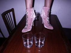 CAMILLE BIDAULT WADDINGTON wearing her Manolo Blahnik shoes, at the Cibus, Paris. Photo Olivier Zahm