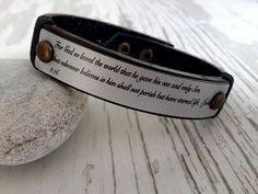Mens Leather Bracelet Customized  BraceletGrey  Men's by tovvanda