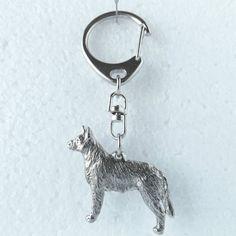 Australian Cattle Dog Silver Tone Keyring Dog Breed Gift Metal