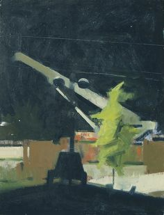 "©Frank Hobbs: ""Night Construction,"" oil on wood, 15 x 12 in."