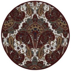 awesome Red Paisley Wave Round Rug (8' x 8')