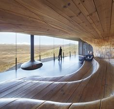 Built inspiration: Tverrfjellhytta Norwegian Wild Reindeer Pavilion by in which a warm undulating wood interior mirrors the surrounding windswept Dovrefjell mountains. Timber Architecture, Architecture Sketchbook, Architecture Portfolio, Sustainable Architecture, Contemporary Architecture, Landscape Architecture, Architecture Design, Architecture Interiors, Earthship