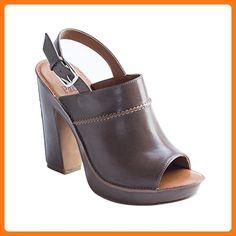 Linea Paolo Gwen Women's Sandal - Stacked Heeled Platform Grey Leather 8.5M (*Partner Link)