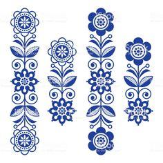 Scandinavian floral design elements, folk art patterns - long stripes - Buy this stock vector and explore similar vectors at Adobe Stock Design Floral, Motif Design, Folk Art Flowers, Flower Art, Folk Embroidery, Embroidery Patterns, Polish Embroidery, Floral Embroidery, Indian Embroidery