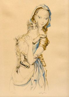 Tsuguharu Foujita - Young girl with cat, c. 1960.Léonard Tsugouharu Foujita was a painter and print maker born in Tokyo, Japan who applied Japanese ink techniques to Western style paintings. Born: November 27, 1886, Tokyo, Japan Died: January 29, 1968, Zürich, Switzerland