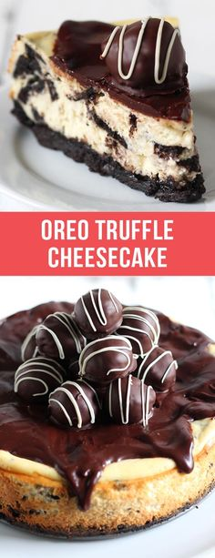 Oreo Truffle Cheesecake is a completely over-the-top sinful dessert with an Oreo crust, Oreo cheesecake filling, chocolate ganache, and Oreo truffles on top! Holy YUM. #oreo #cheesecake #chocolate #dessert #recipe #food #oreorecipes