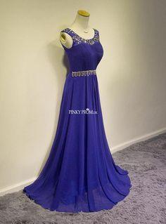Blue Sleeveless Ruching Chiffon Prom Dress With Jewels - pinkyprom.uk