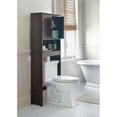 Storage For The Bathroom   Threshold Fieldcrest Luxury Over Toilet Etagere    Espresso