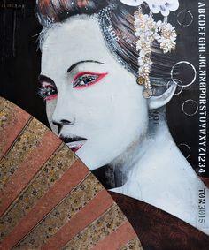 HONOKA. Technique mixte sur toile. 122 x 101.5 cm / Mixed media on canvas. 48'' x 40''. Artiste-peintre: Tone