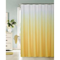 Ombre Waffle Fabric Shower Curtain with 12 Metal Roller Hooks, Yellow - Walmart.com Ombre Shower Curtain, Yellow Shower Curtains, Bathroom Shower Curtains, Fabric Shower Curtains, Minimalist Showers, Bathroom Color Schemes, Yellow Bathrooms, Yellow Fabric, Apartment Design