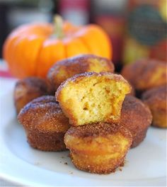 Baked Pumpkin Donut Holes. Made these tonight.  They are now on the traditional fall foods list!  :D  Sooooo very soft and fluffy.  After baking them, I had my doubts just looking at the little dough balls.  Then I sugared them and took a bite.  Perfect!  :9
