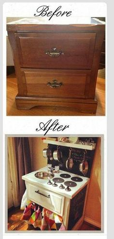 Turn an old night stand into a play kitchen