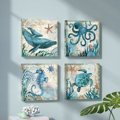 'Monterey Bay Octopus' 4 Piece Graphic Art on Wrapped Canvas Set Seahorse Painting, Turtle Painting, Dot Painting, Painting Prints, Art Print, Nautical Painting, Paintings, Sea Life Art, Forest Painting