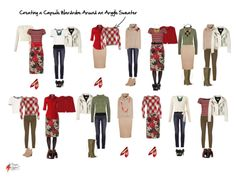 2 Weeks of outfits in with a small capsule wardrobe all created around an argyle sweater