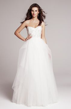 Wedding Dresses, Sweetheart Wedding Dresses, Fashion, Modern, Gown, Sweetheart, Strapless, Strapless Wedding Dresses, Tulle, Layered, Ivy, Modern Wedding Dresses, asymmetrical skirt, Nordstrom Wedding Suite, roses by reem acra, silver embroidery, tulle wedding dresses