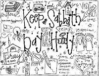 keep the sabbath day holy..for a conference coloring book, look at board