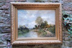 Antiker Impressionist im Stile und Epoche Camille Corot. Ölgemälde Impre...