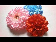 """Канзаши мастер класс, как сделать ободок с цветами из атласных лент, лепесток """"ушки"""", розочки - YouTube"""