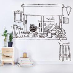 Wall Painting Decor, Diy Wall Art, Mural Art, Wall Murals, Interior Design Sketches, Room Decor, Wall Decor, Wall Drawing, Black And White Drawing