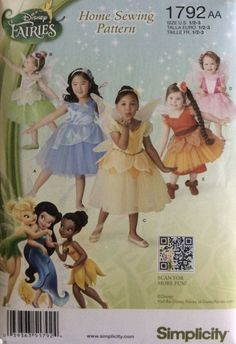 NEW SIMPICITY PATTERN DISNEY FAIRIES CHILD CUSTOM #1792AA MSRP 16.95 #Simplicity