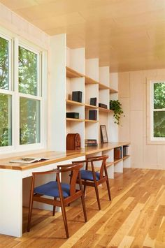 Modern Home Office Built-in Desk Design, Pictures, Remodel, Decor and Ideas - page 9 Study Table Designs, Study Room Design, Small Room Design, Family Room Design, Study Space, Study Nook, Rustic Desk, Rustic Chair, Wall Bookshelves