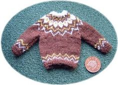 scale mans jumper which is knitted in the 'round' © F H Powell 2011 Miniature Christmas, Felt Christmas, Christmas Sweaters, Xmas, Knitted Dolls, Crochet Toys, Knit Crochet, Knitting Patterns, Crochet Patterns