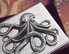 Octopus Business Card Case Silver Octopus Vintage by CosmicFirefly, $48.00