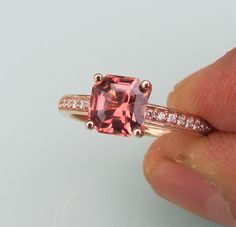 Apricot Spinel Asscher Cut in 14k Rose Gold Diamond Accented Engagement Ring. $830.00, via Etsy.