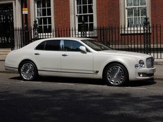 The pearl white Bentley Mulsanne 2013 is a fantastic wedding car. Available on self drive hire or with a chauffeur from Opulently Driven.  #Luxury #London #OpulentlyDriven
