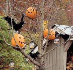 These outdoor Halloween decorations will trick (or treat! Our cheap DIY Halloween yard decor ideas are sure to put a spell on them, from spooky door decorations to creatively carved pumpkins! Halloween Tree Decorations, Backyard Party Decorations, Halloween Trees, Outdoor Halloween, Halloween Crafts, Halloween Party, Halloween 2019, Hanging Decorations, Halloween Celebration