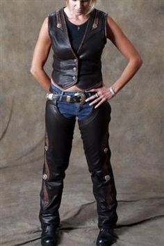 Womens espresso leather chaps and motorcycle vest.