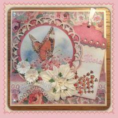 Paperbloc Floral Delight van Sara Davies.  Knipvel, lr0412, cs0967 van Marianne design.  En een stansje Hoera van Die'sire.